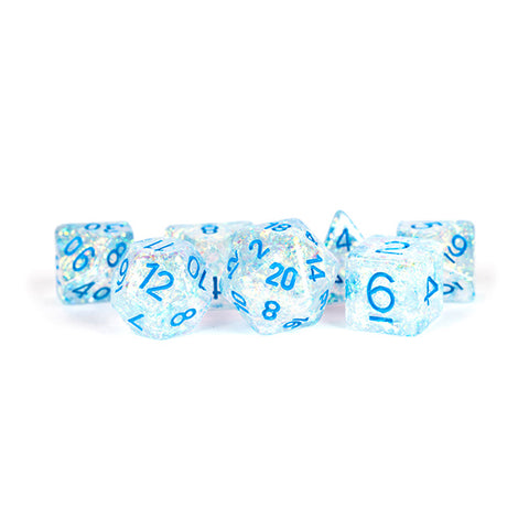 7-Die Set 16mm Flash: Clear w/ Light Blue Numbers