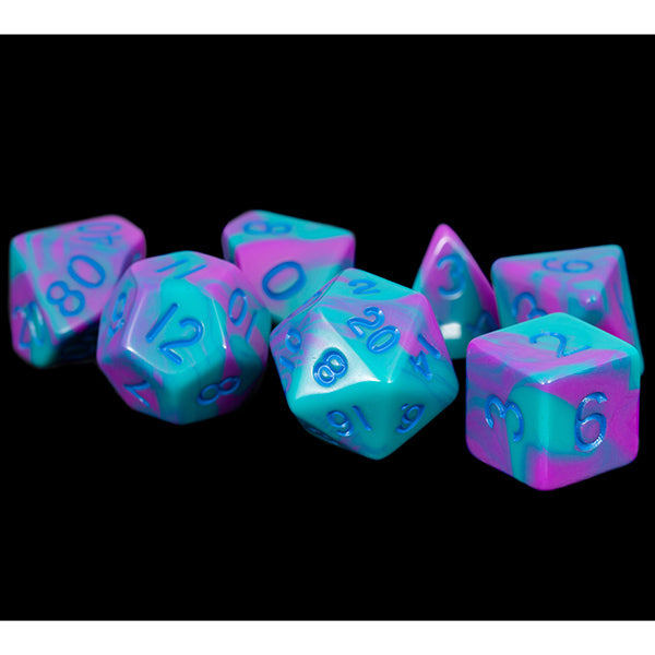7-Die Set 16mm: Purple/Teal with Blue Numbers