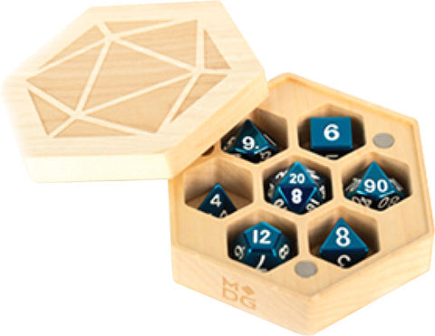 Premium Wood Hexagon Dice Case: Maple