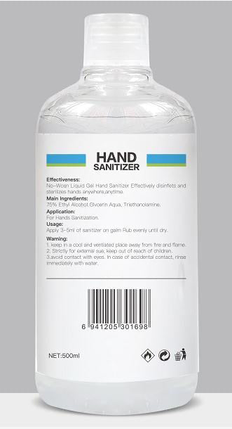 Hand Sanitizer with Ethyl Alcohol 75% (16.9 oz / 500 ml)