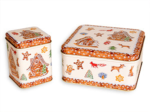 photo of two colorful holiday tins filled with goodies from Laura's Brownies