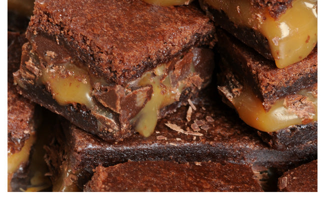 photo close up of scrumptious multi-layered caramel-in-the-middle brownies from Laura's Brownies