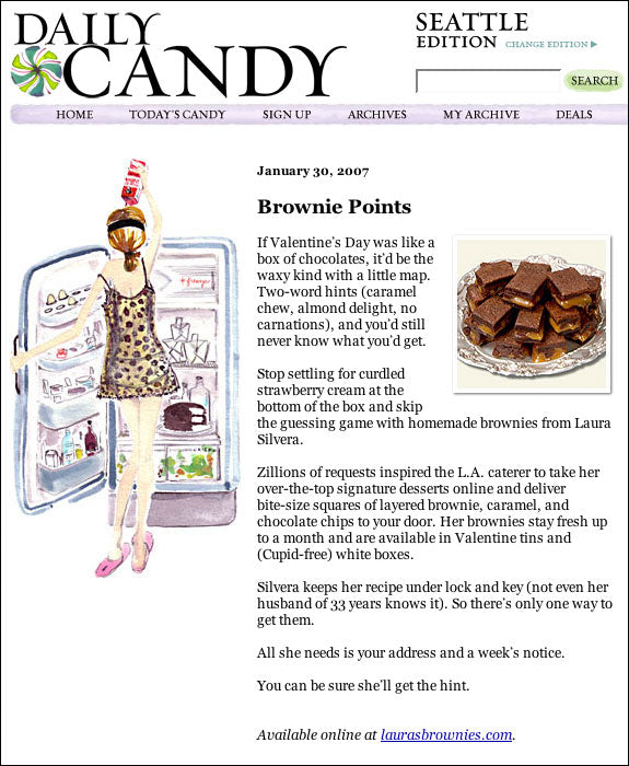 screen shot of Daily Candy review article of Laura's Brownies