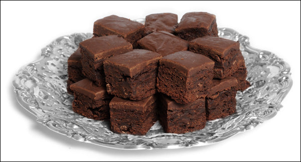 photo of a platter heaped with gluten-free versions of fantastically delicious Laura's Brownies