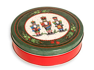 photo of round red tin with three nutcracker suite toy soldiers painted on its lid and containing delightful Laura's Brownies