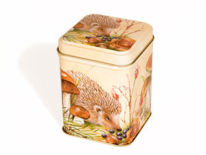 TALL SQUARE HEDGEHOG TIN Caramel Brownies - Small