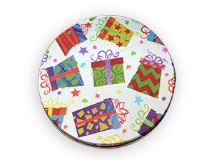 photo of round tin with festive wrapped boxes and gift bags painted on its lid and containing delightful Chocolate Chippers from Laura's Brownies