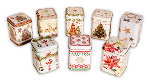 photo of eight colorful holiday-themed tall and square painted brownie tins containing scrumptious goodies from Laura's Brownies