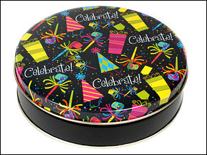 photo of colorfully decorated round tin containing delicious Chocolate Chippers from Laura's Brownies