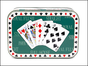 photo of small rounded-edged rectangular tin colorfully printed with five-card hand of playing cards on lid and containing scrumptious Laura's Brownies