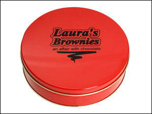 photo of red painted round tin containing delightful Laura's Brownies or fabulous Chocolate Chippers