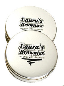 photo of two platinum round tins containing delightful Laura's Brownies or fabulous Lemon Bars
