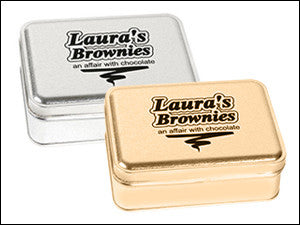 photo of two colorfully colored rectangular tin boxes containing delicious Laura's Brownies, Marshmallow Brownies, and Lemon Bars each in a different tin