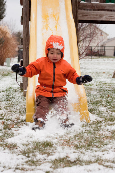 Explore a playground in the winter
