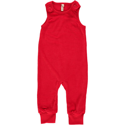 Maxomorra Red Velour Playsuit
