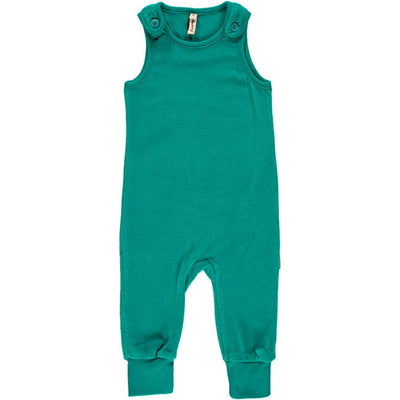 Maxomorra Turquoise Velour Playsuit