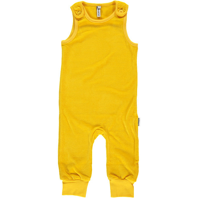 Maxomorra Yellow Velour Overalls