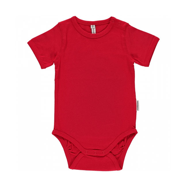 Maxomorra Red Bodysuit S/S