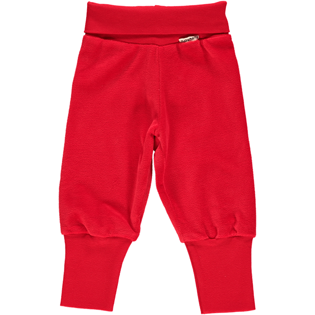 Maxomorra Red Rib Velour Pants
