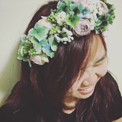 SW0004 - Hydrangea and purple roses in flower crown