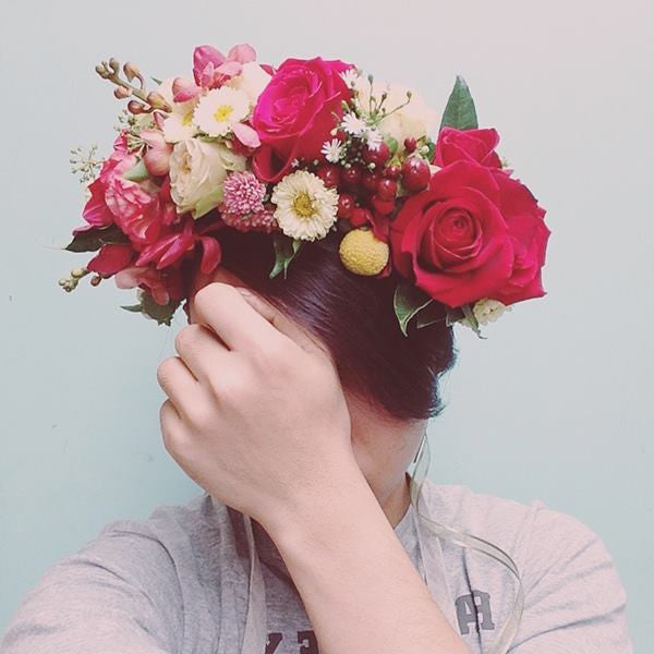 Wedding White Flower Crown: Red And White Flower Crown