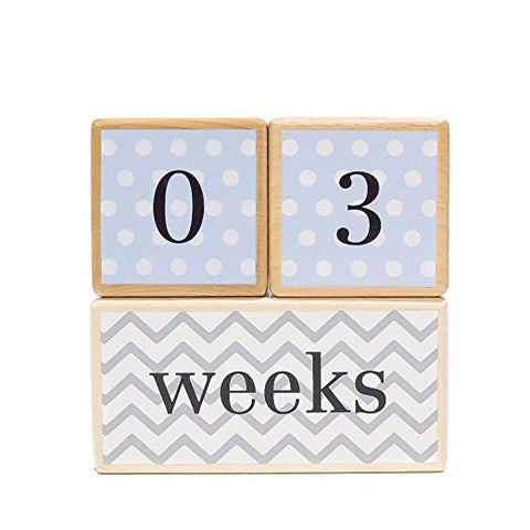 LovelySprouts Milestone Age Blocks | Solid Wood | Baby Age Photo Blocks | Perfect Baby Shower Gift, Blue