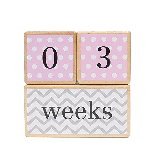 LovelySprouts Milestone Age Blocks | Solid Wood | Baby Age Photo Blocks | Perfect Baby Shower Gift, Pink