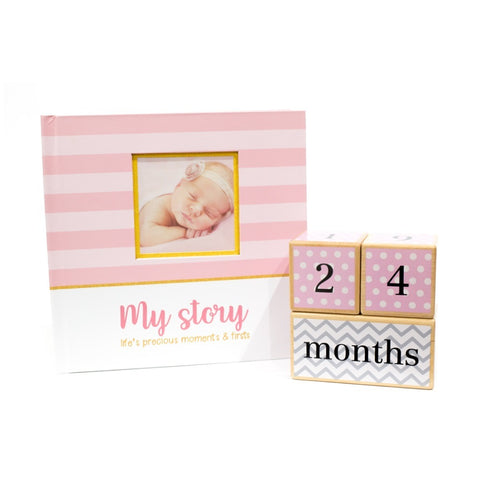 Baby Shower Collection - Pink Book and Pink Blocks