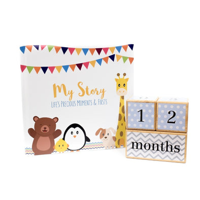 Baby Shower Collection - Little Animal Book and Blue Blocks