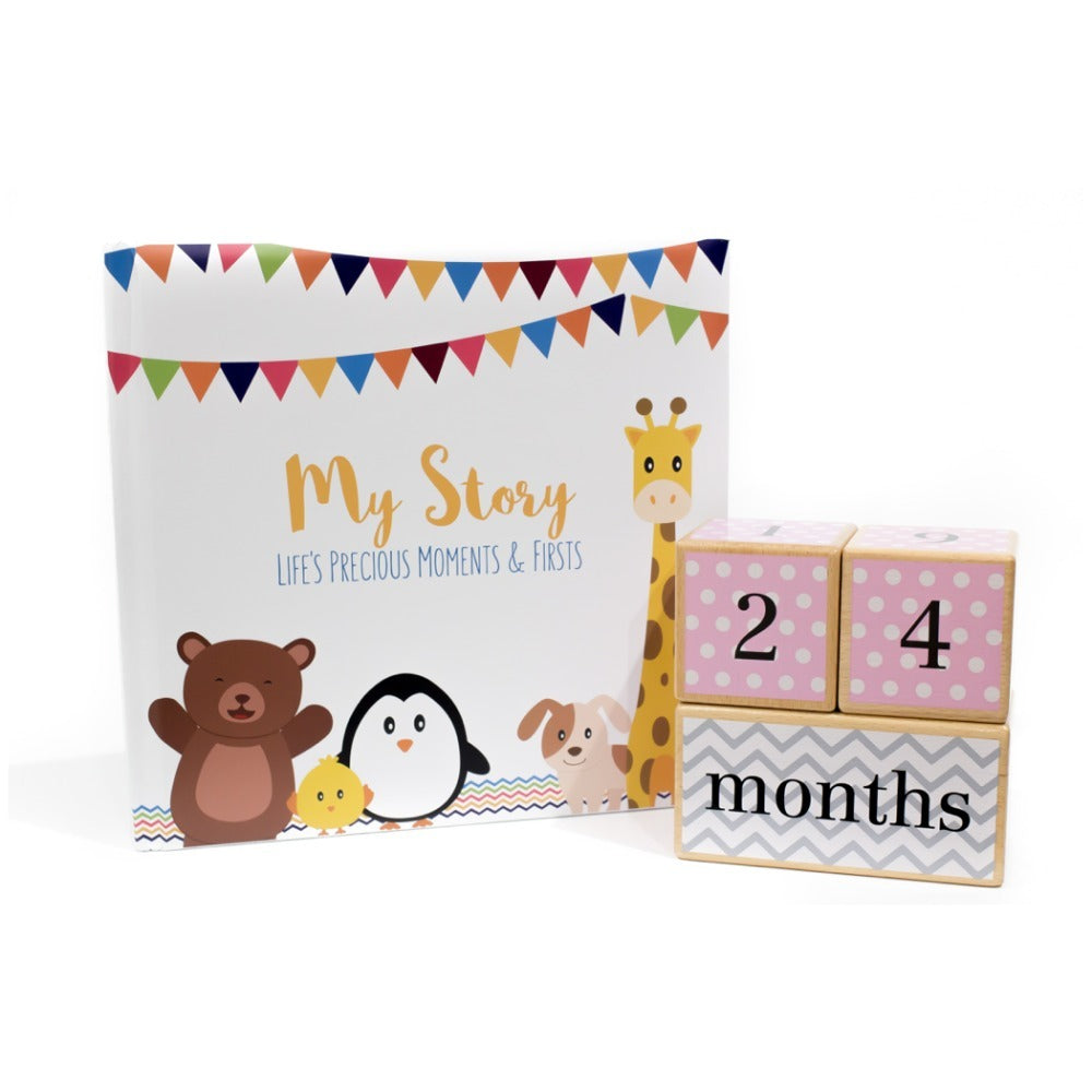 Baby Shower Collection - Little Animal Book and Pink Blocks