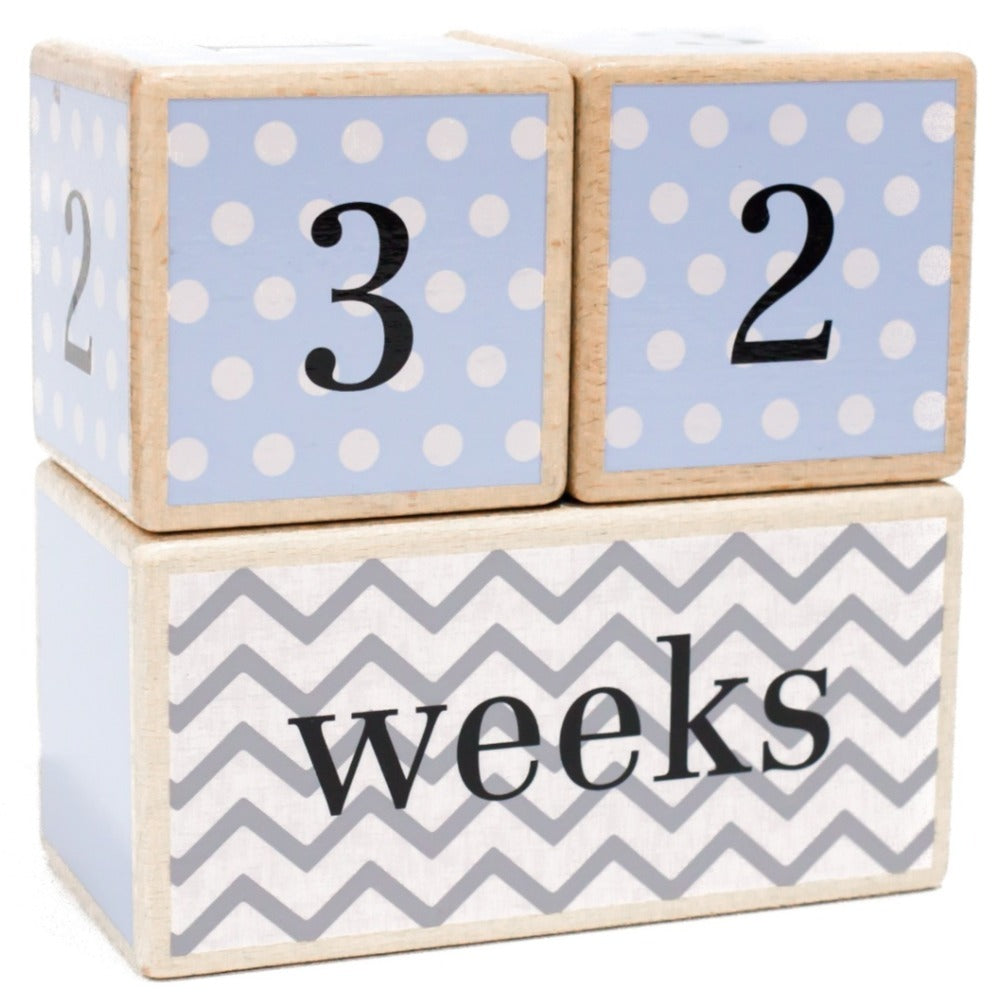 LovelySprouts Milestone Age Blocks, Blue