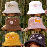 Fluffy Embroidered Bucket Hats!