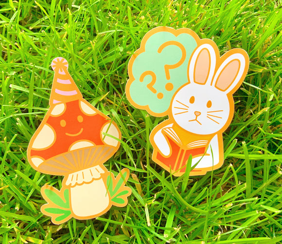 Reading Bunny & Party Mushroom Vinyl Stickers!