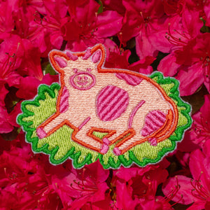 Strawberry Cow Embroidered Patch!