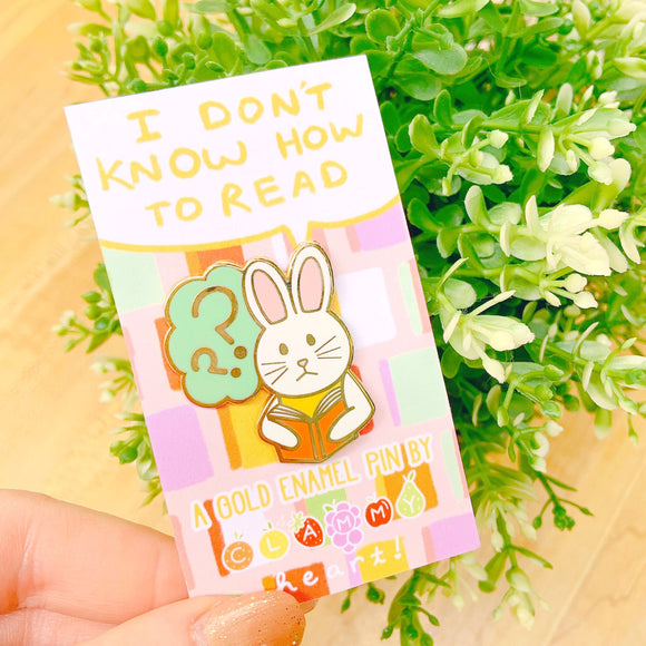 Reading Bunny Enamel Pin!