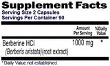 Berberine 1000mg Per Serving, 180 Capsules, 90 Day Supply