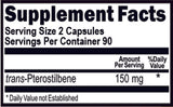 Pterostilbene 150 mg Per Serving 180 Capsules 90 Servings