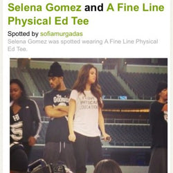 Selena Gomez wearing Hastings 'Physical Education' Tee