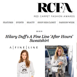 Hilary Duff featured on Red Carpet Fashion Awards in After Hours sweatshirt