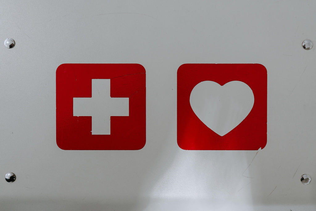 Red cross and red heart