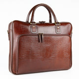 Petek 1855, Model: 2801, Crocodile Brown Luxury Leather Briefcase, front