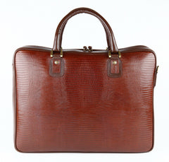 #3868 Petek 1855, Crocodile Brown, Leather Briefcase
