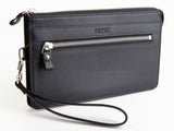 #702 Solid Black, Men's Leather Clutch & Hand Bag