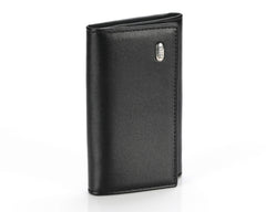 #505 Solid Black, Leather Key Pouch With Snap And Zipper Compartment