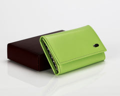 #505 Sharp Green, Leather Key Pouch With Snap And Zipper Compartment