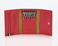 #505 Pomegranate, Leather Key Pouch With Snap And Zipper Compartment