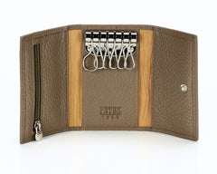 #505 Sano, Leather Key Pouch With Snap And Zipper Compartment