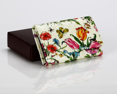 #505 Floral White, Leather Key Pouch With Snap And Zipper Compartment