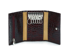 #505 Burgundy, Leather Key Pouch With Snap And Zipper Compartment