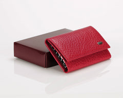 #505 Red, Leather Key Pouch With Snap And Zipper Compartment